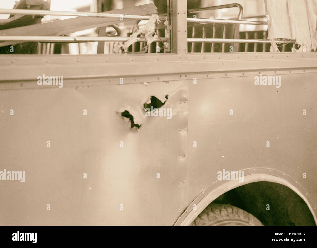 Disturbance. Attack on an Arab bus July 4, 1938. An Arab National buss punctured by exploded mine, Middle East, Israel - Stock Image