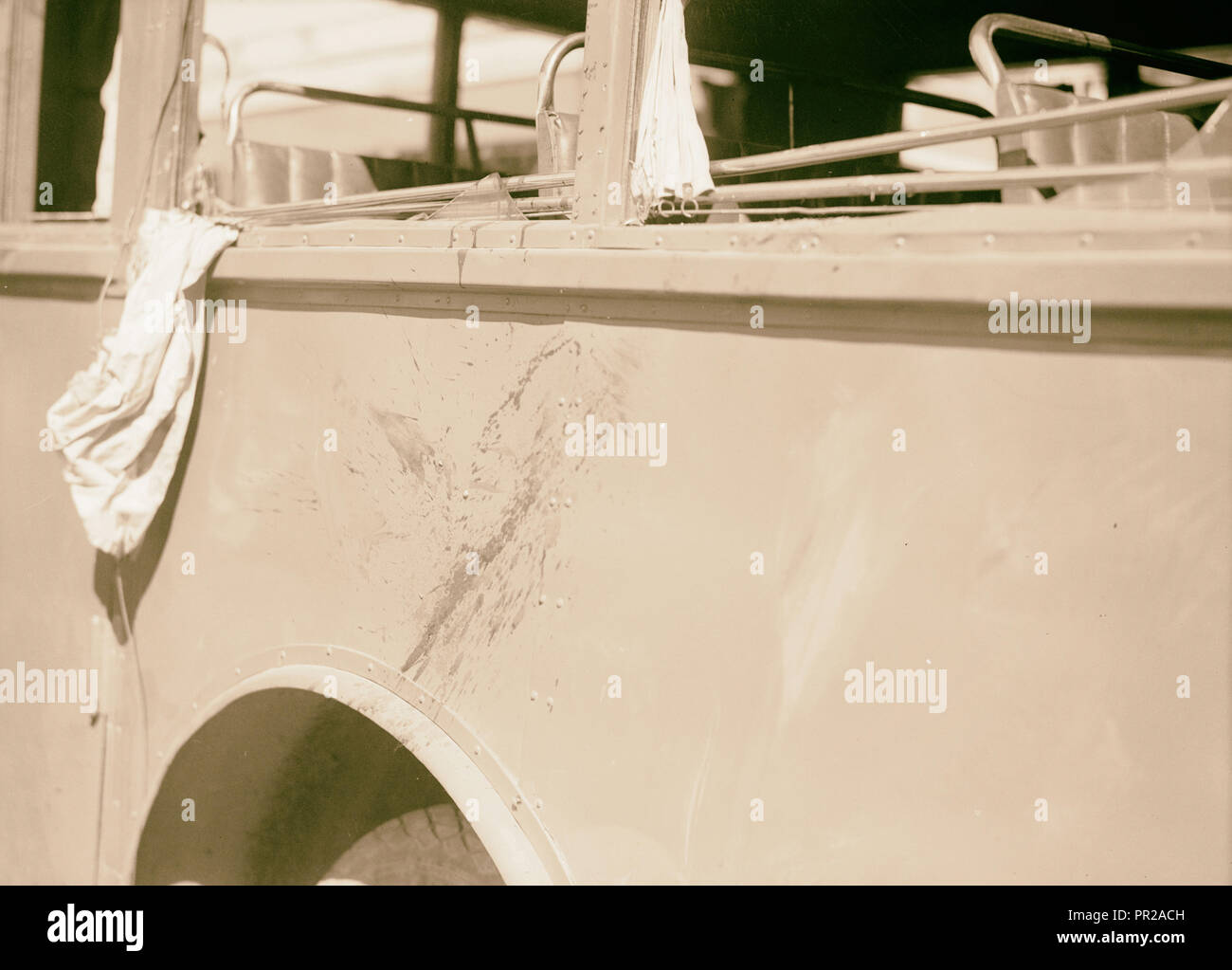 Disturbance. Attack on an Arab bus July 4, 1938. An Arab National blood-stained bus, Middle East, Israel and/or Palestine - Stock Image