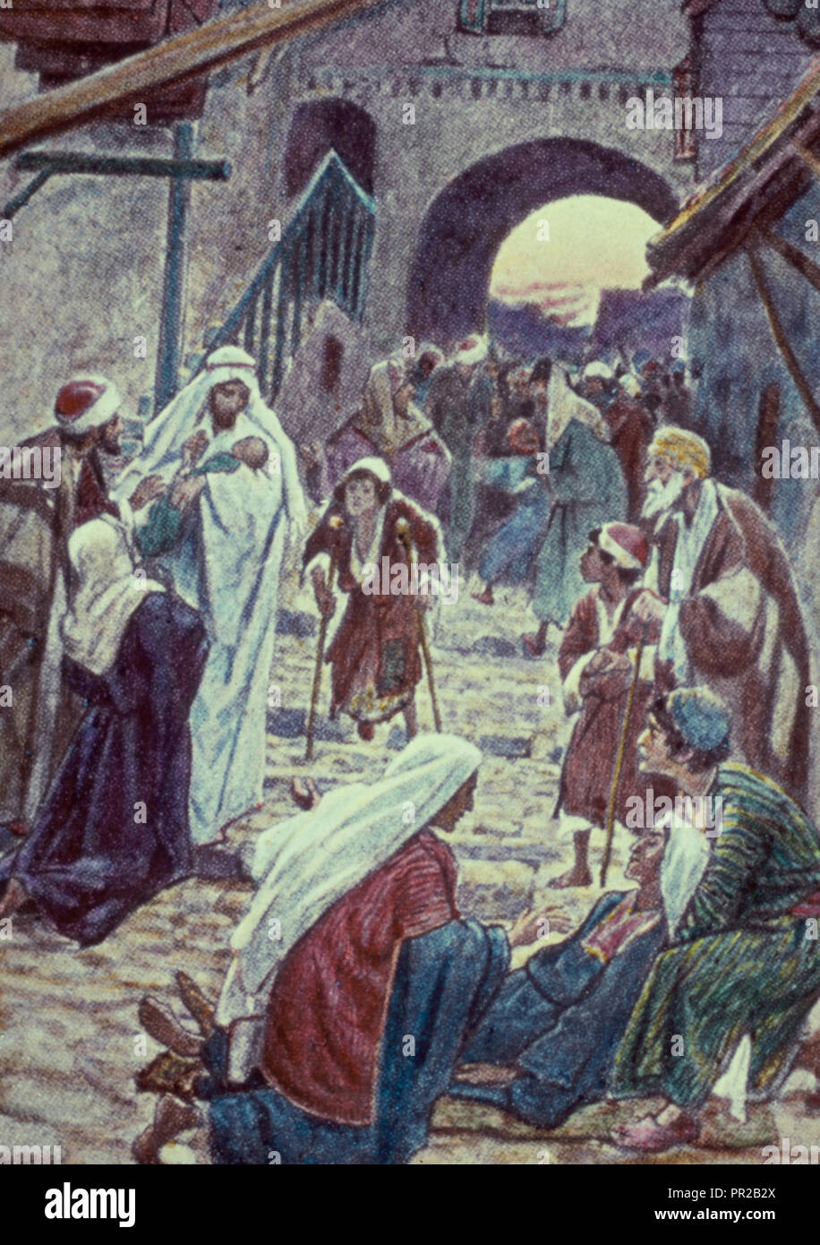 Mark 121,22;32-34. The Sabbath being ended, the people of Capernaum bring unto Him many afflicted with divers diseases - Stock Image