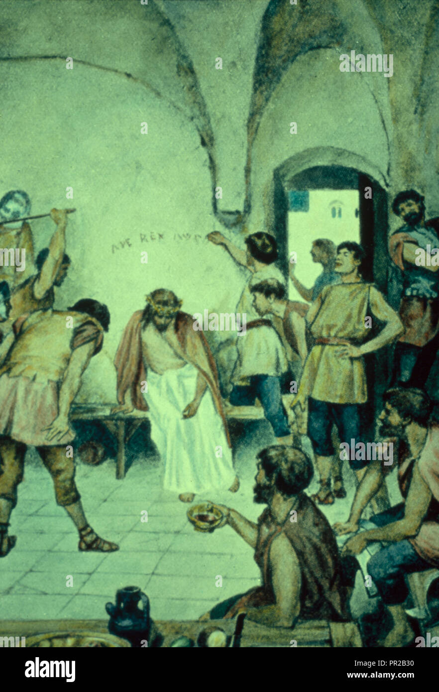 Matt. 2727-30. Jesus, arrayed in mock state, is brutally entreated by the Roman soldiers. 1950 - Stock Image