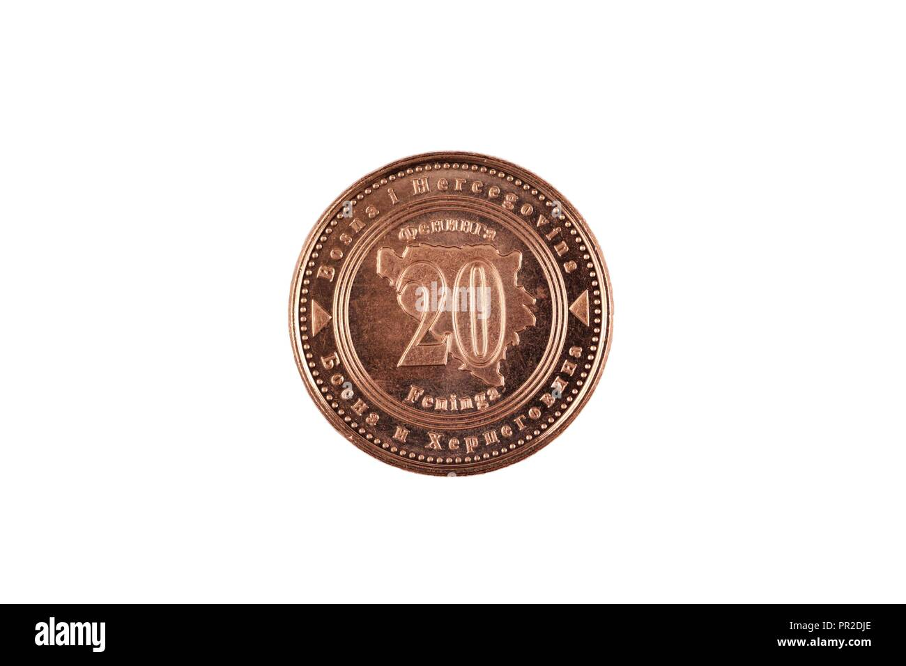 A macro image of a Bosnian 20 fenings coin isolated on a white background - Stock Image