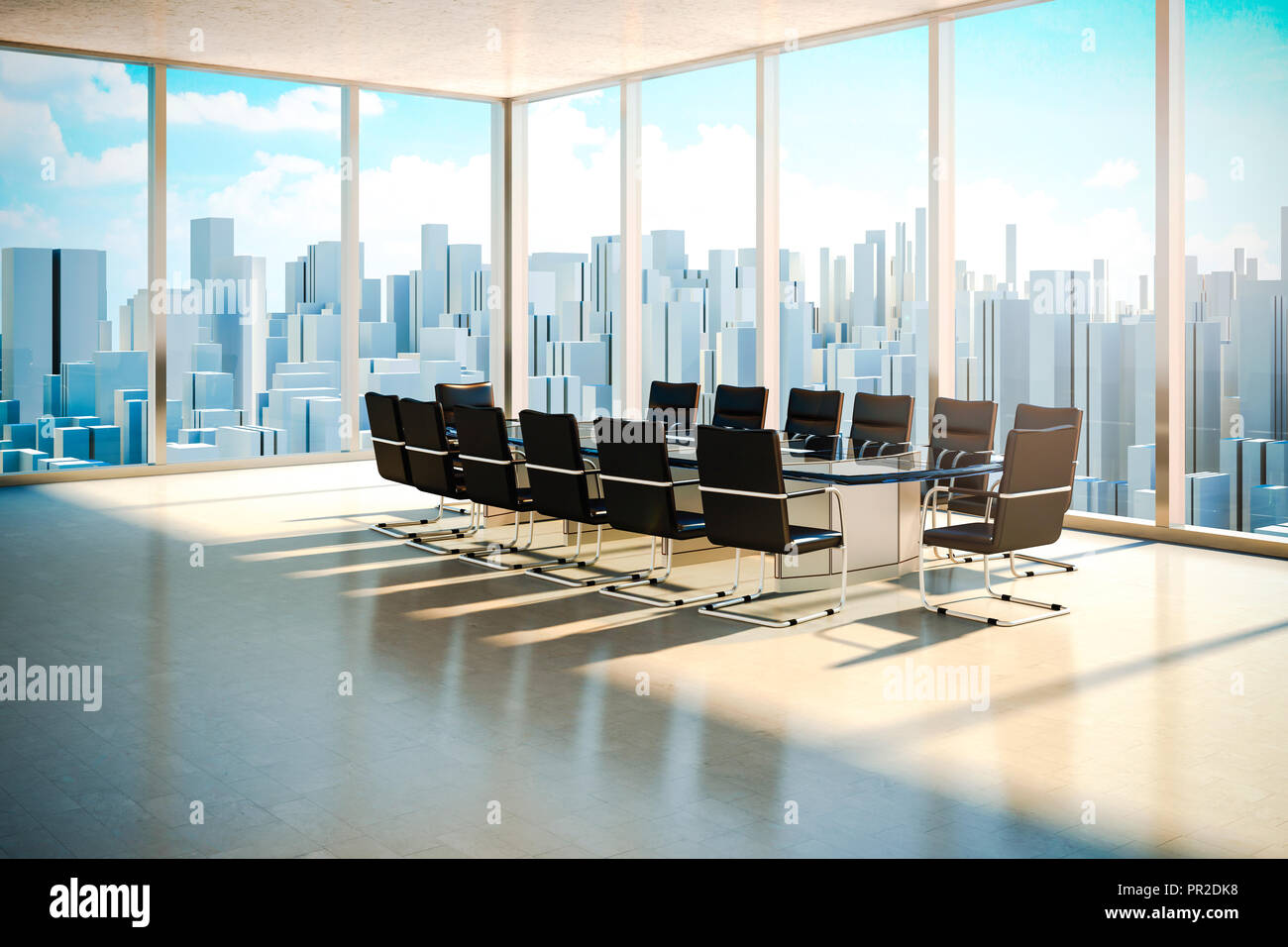 Modern Office Interior With Beautiful Worm Daylight And City Skyline In The Background Stock Photo Alamy
