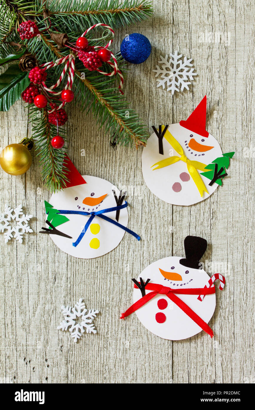 Christmas Snowman Merry Gift On Wooden Table Handmade Project Of