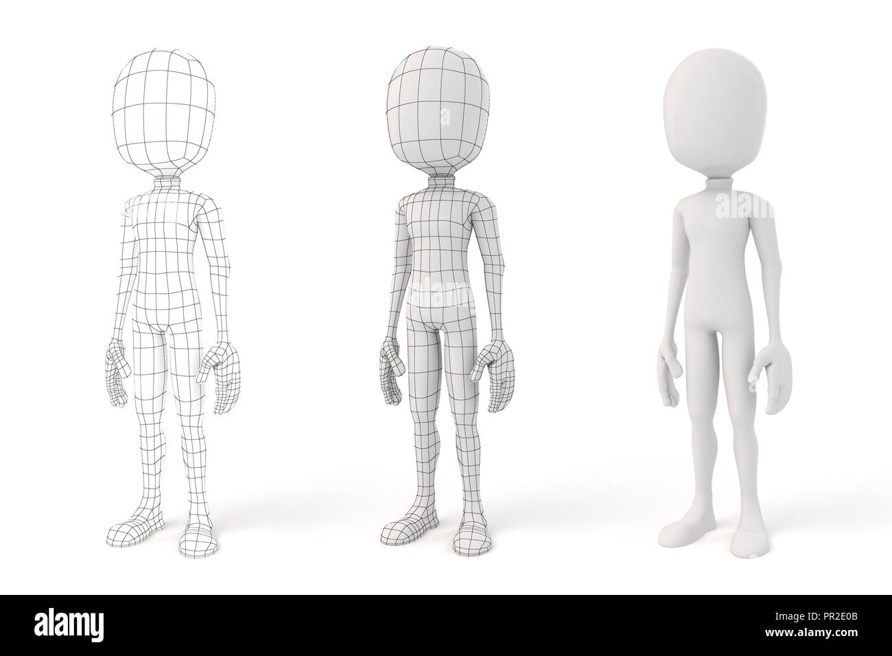 3d man posing on white background showing the geometry edges - Stock Image