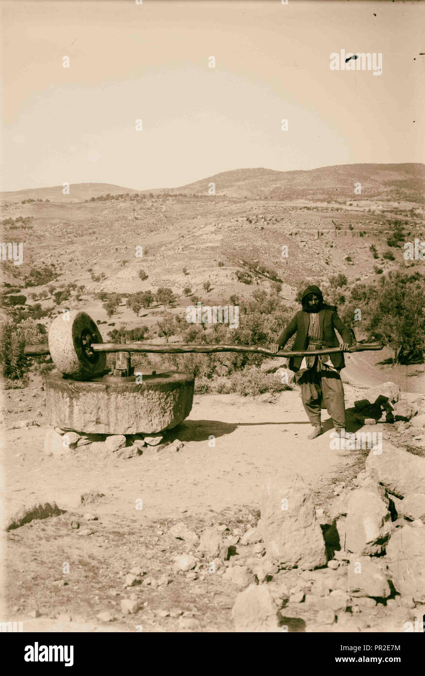 Primitive olive crusher. 1900, Middle East, Israel and/or Palestine - Stock Image