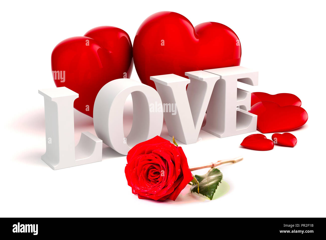 3d Love Text Red Hearts And Rose On White Background Stock Photo