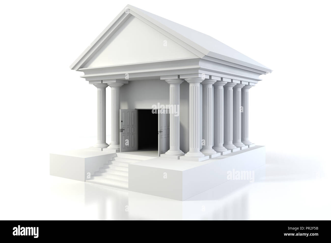 Design Vintage Bank.3d Icon Of Vintage Bank Building On White Background Stock Photo