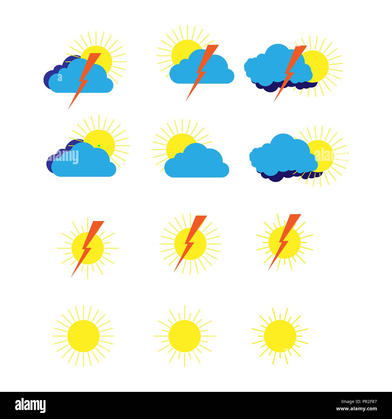 Weather Forecast Symbols Stock Vector Images Alamy