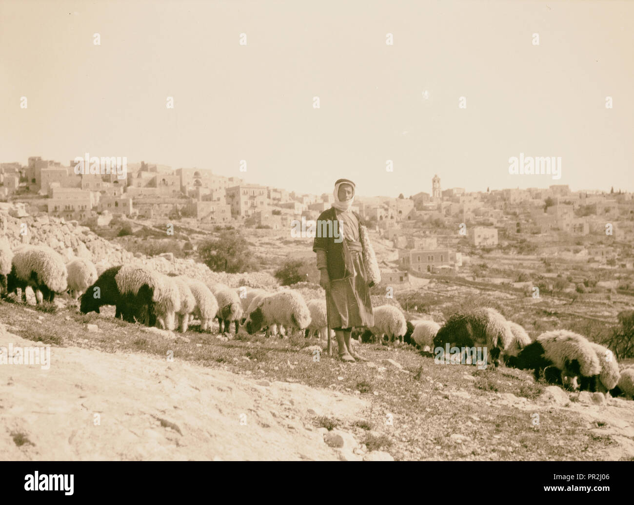 Bethlehem and surroundings. Bethlehem shepherd. 'Out of thee shall come forth one that shall shepherd my people'. 1920, West - Stock Image
