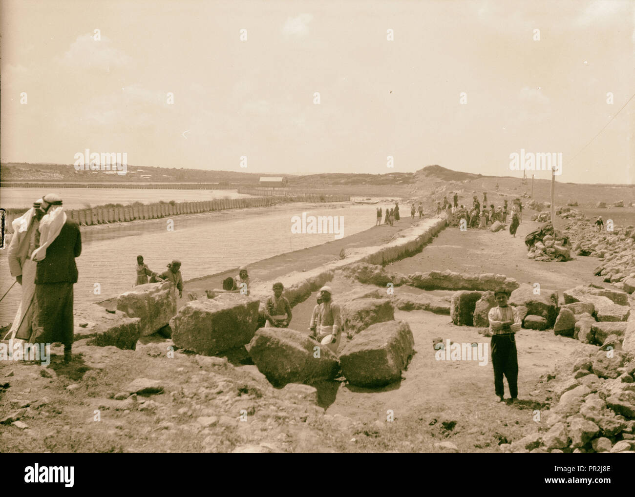 Northern views. Athlit. Excavating the city wall. 1920, Israel, ʾAtlit - Stock Image