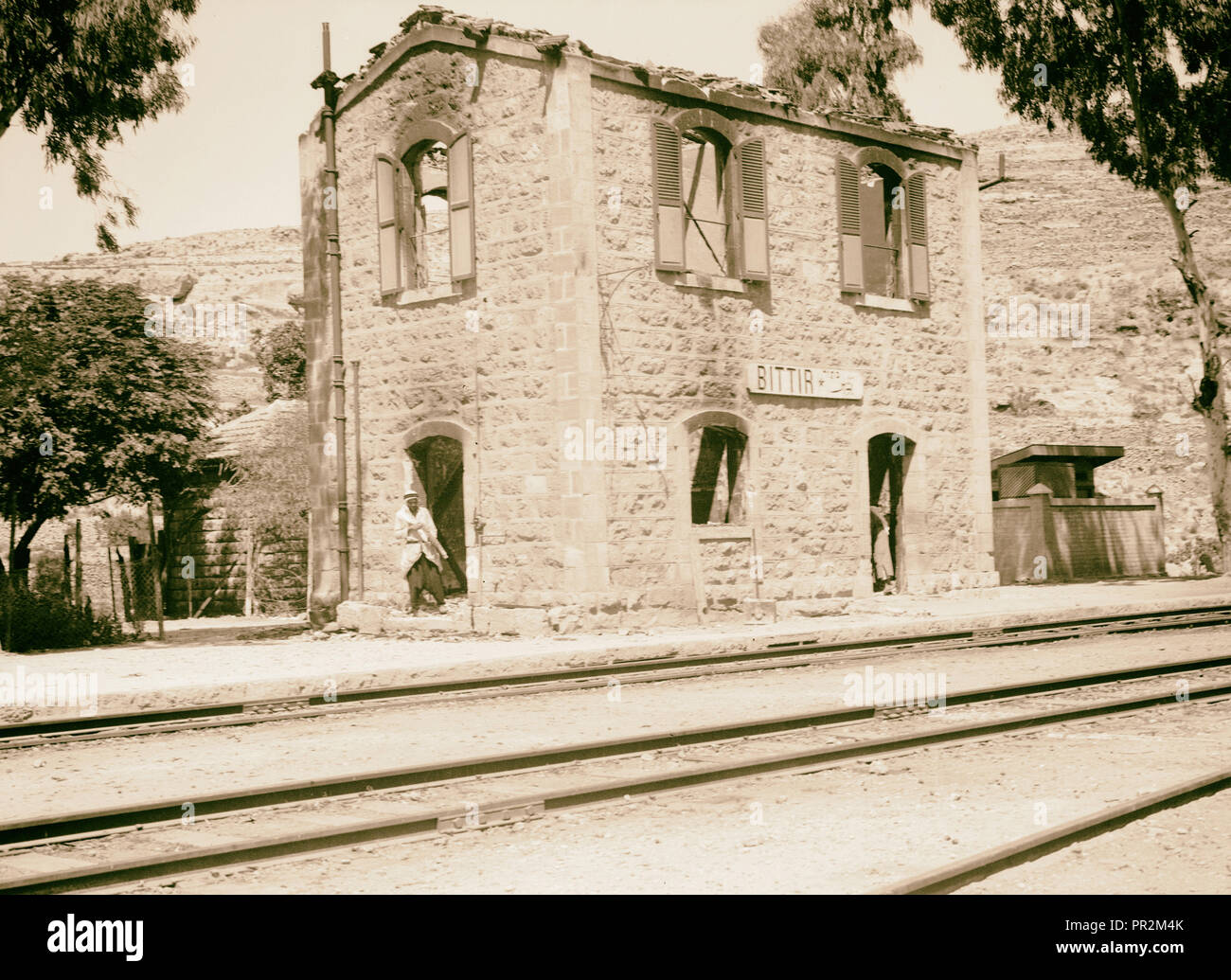 Bittir station gutted with fire. 1934, West Bank, Bethar, Middle East - Stock Image