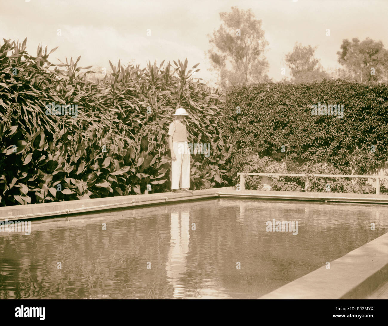 Tanganyika. Arusha. Arusha Hotel. Swimming pool in the midst of luxuriant vegetation. 1936, Tanzania, Arusha - Stock Image