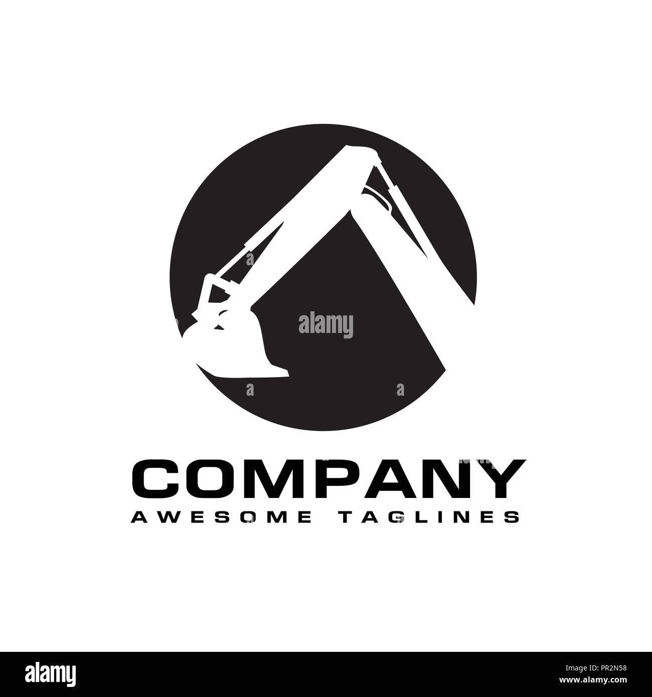 Excavators Construction machinery logo, Hydraulic mining excavator vector logo,. Heavy construction equipment symbol with boom dipper and bucket - Stock Image