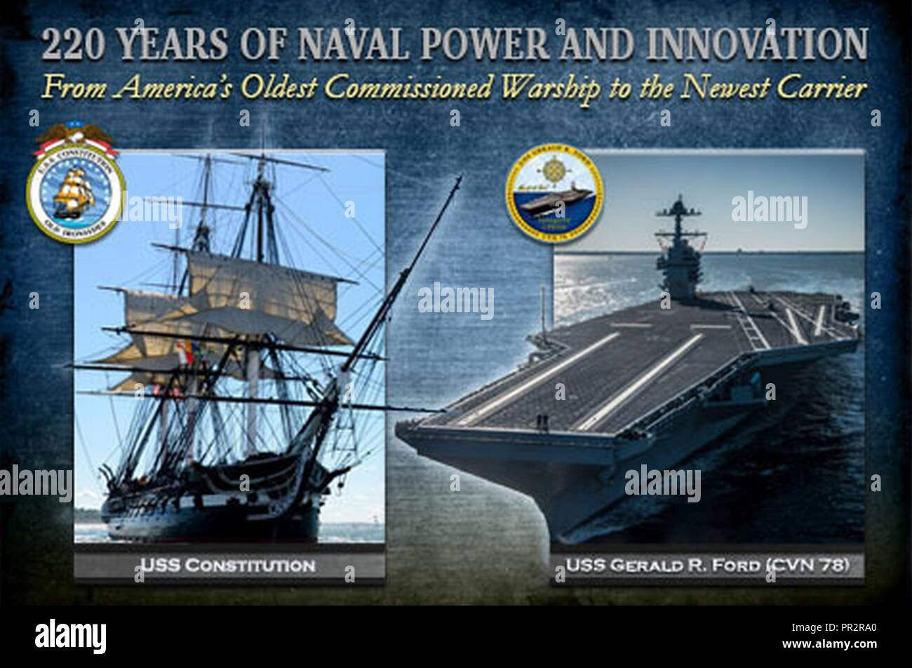 NORFOLK, Va. (July 25, 2017) Photographic illustration depicting 220 years of naval power and innovation with USS Constitution and aircraft carrier USS Gerald R. Ford (CVN 78). Constitution, America's Ship of State and the country's oldest commissioned warship, completed a two-year restoration period before returning to the water on July 23. Ford, the lead ship of the Ford-class aircraft carriers and the first new U.S. aircraft carrier design in over 40 years, was commissioned on July 22. - Stock Image