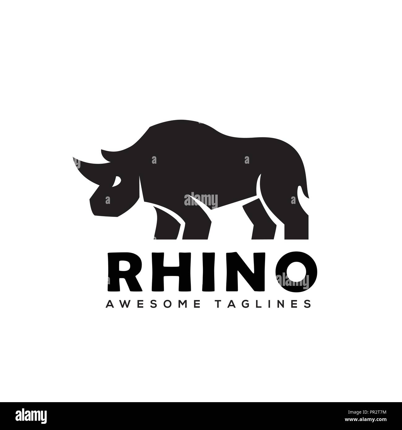 rhino logo vector rhinoceros logo monochrome color business