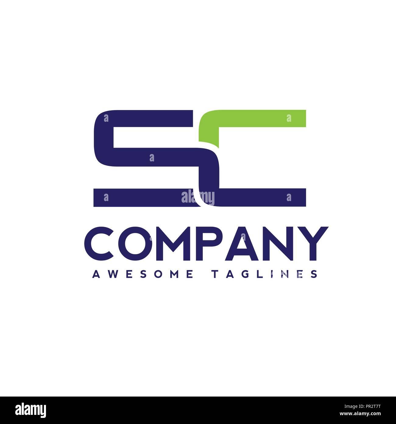 creative letter sc logo design template elements simple letter sc