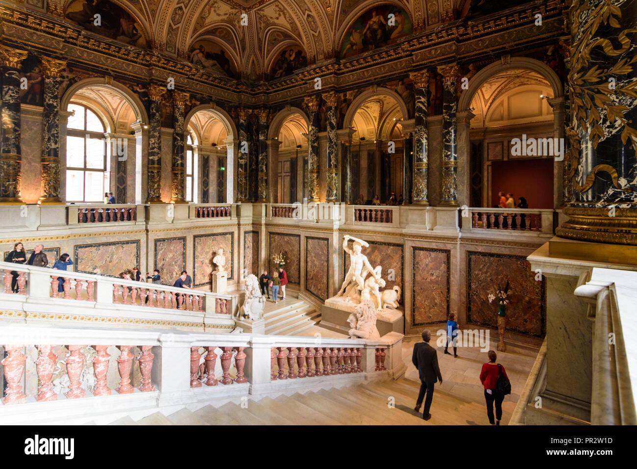 Wien, Vienna: Kunsthistorisches Museum (KHM, Museum of Art History, Museum of Fine Arts), main staircase, 01. Old Town, Wien, Austria Stock Photo