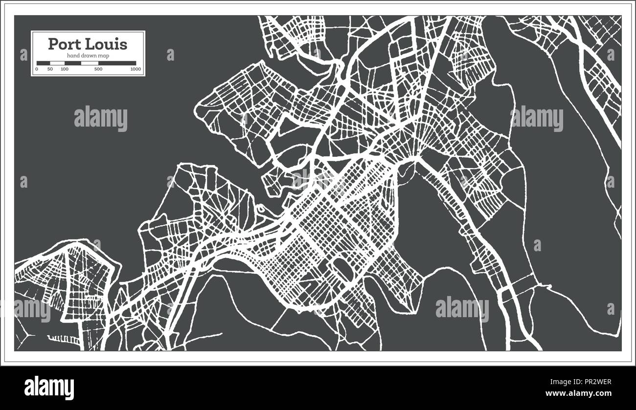 Port Louis Mauritius City Map in Retro Style. Outline Map. Vector ...