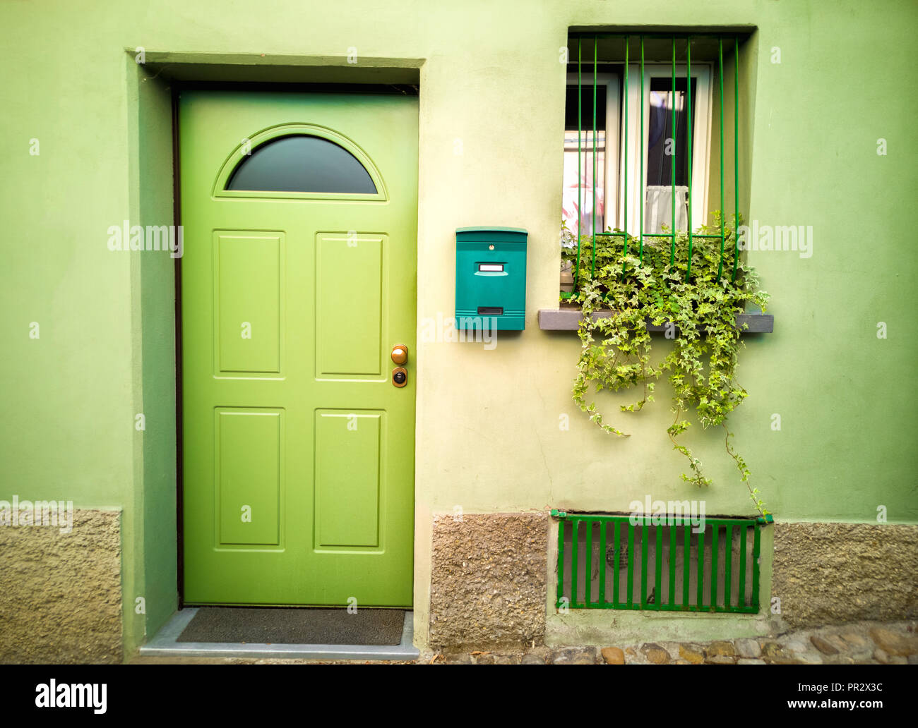 green house door - eco friendly sustainable architecture Environmentally Sustainable Building - Stock Image