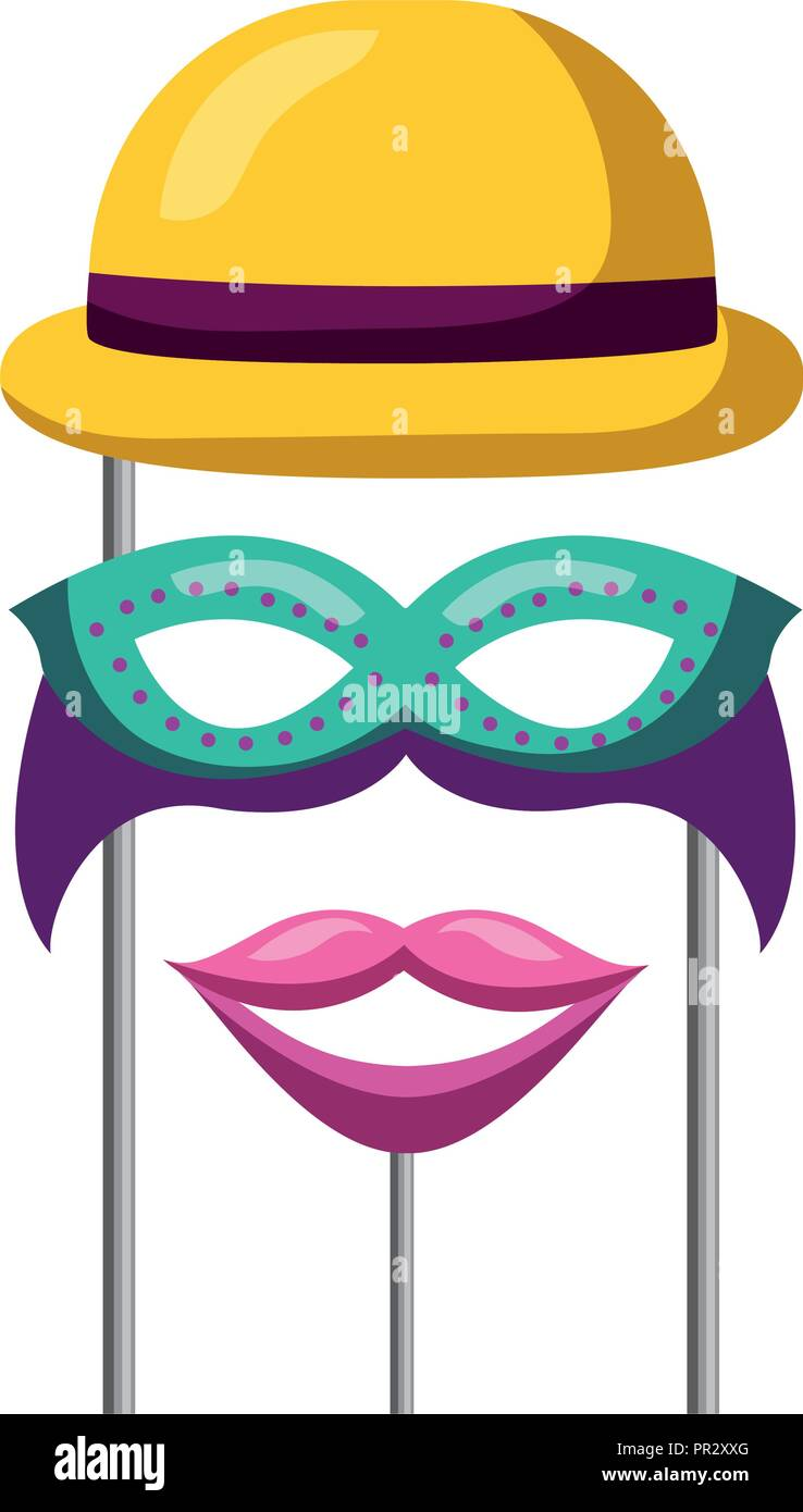 22bb6eed9b829 masquerade carnival festival bowler hat mask and moyuth in sticks vector  illustration