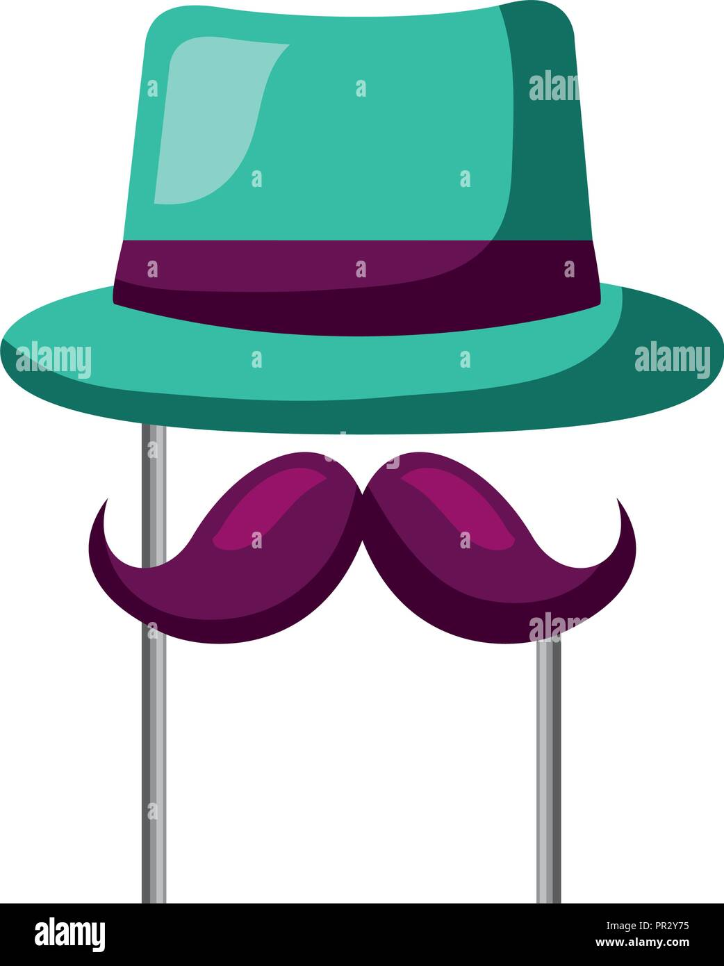 classic hat mustache carnival costume party - Stock Image