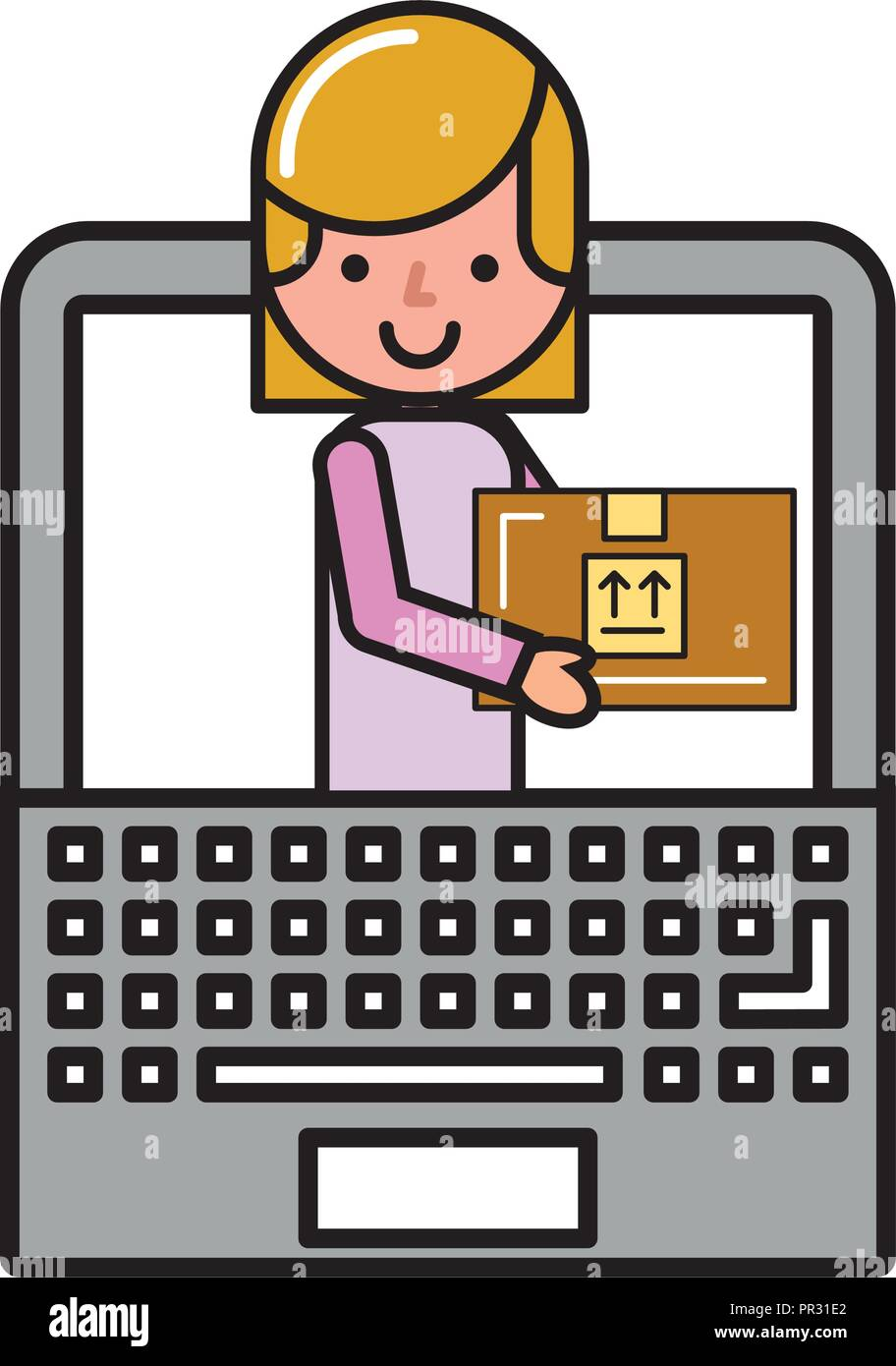customer woman in laptop package online shopping Stock Vector