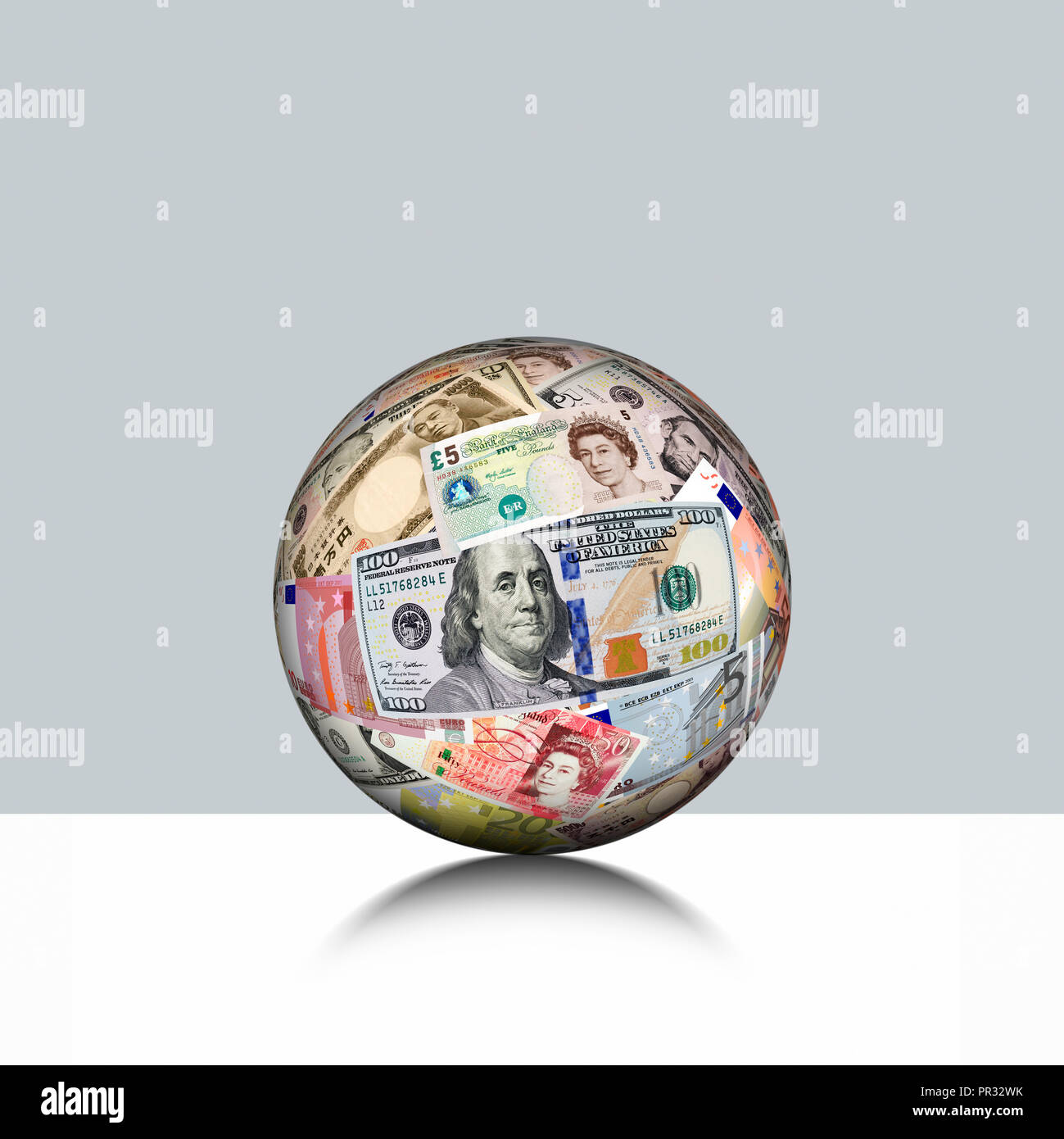 Global Currency, Ball Mede from International Currency - Stock Image
