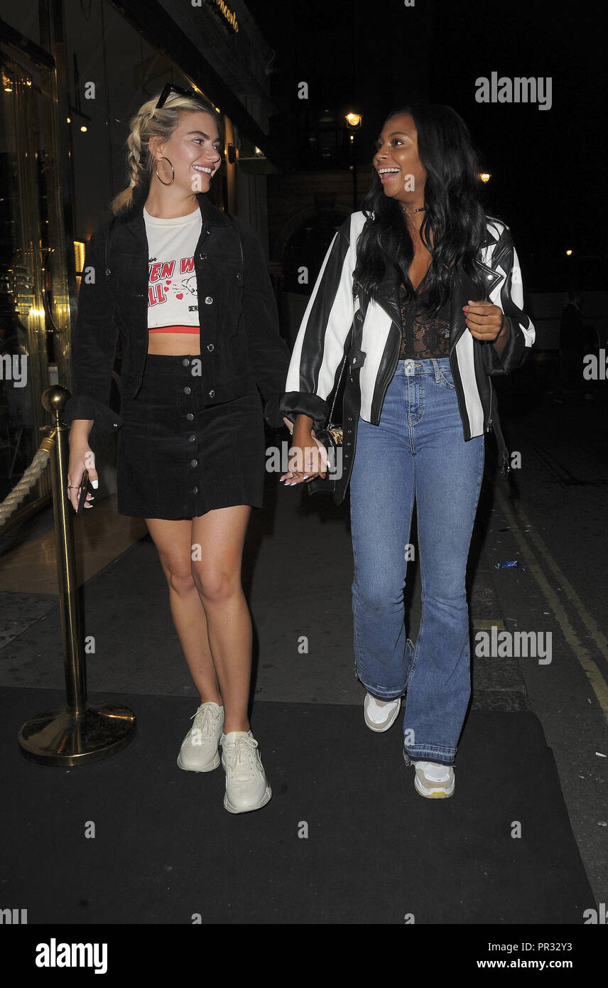 'Love Island' stars Samira Mighty and Megan Barton outside Mahiki nightclub  Featuring: Samira Mighty, Megan Barton, Hanson Where: London, United Kingdom When: 29 Aug 2018 Credit: WENN.com - Stock Image