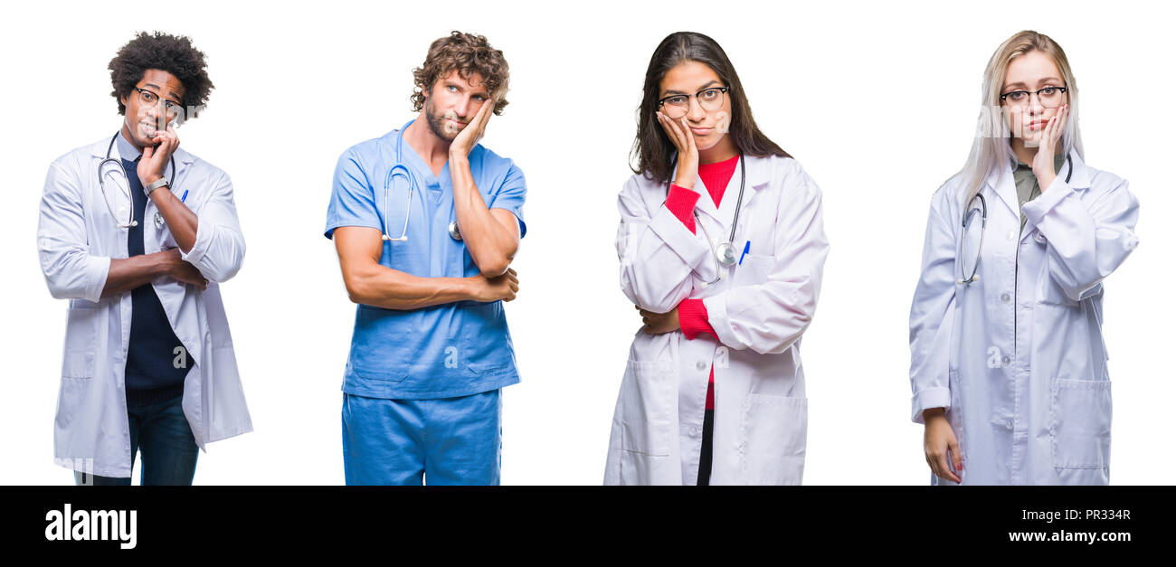 Collage of group of doctor, nurse, surgeon people over isolated background thinking looking tired and bored with depression problems with crossed arms Stock Photo