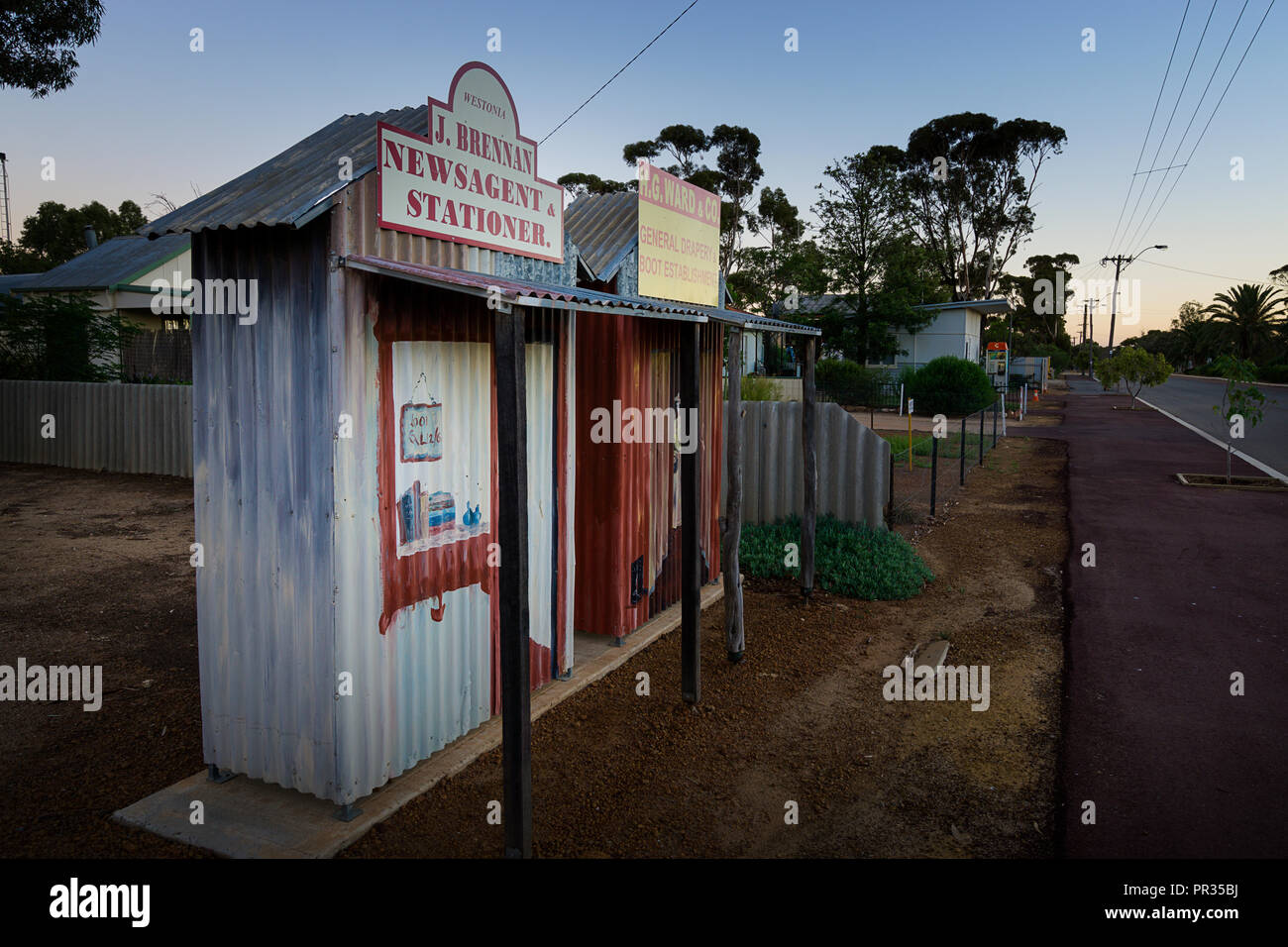 Colourful replica shop fronts which act as street signs representing Westonia's pioneering past, Westonia Western Australia - Stock Image
