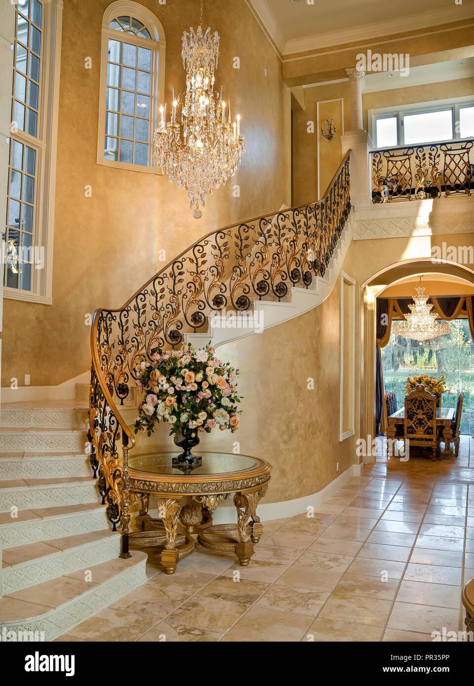 Decorative upscale winding forged aluminum staircase balustrade - Stock Image