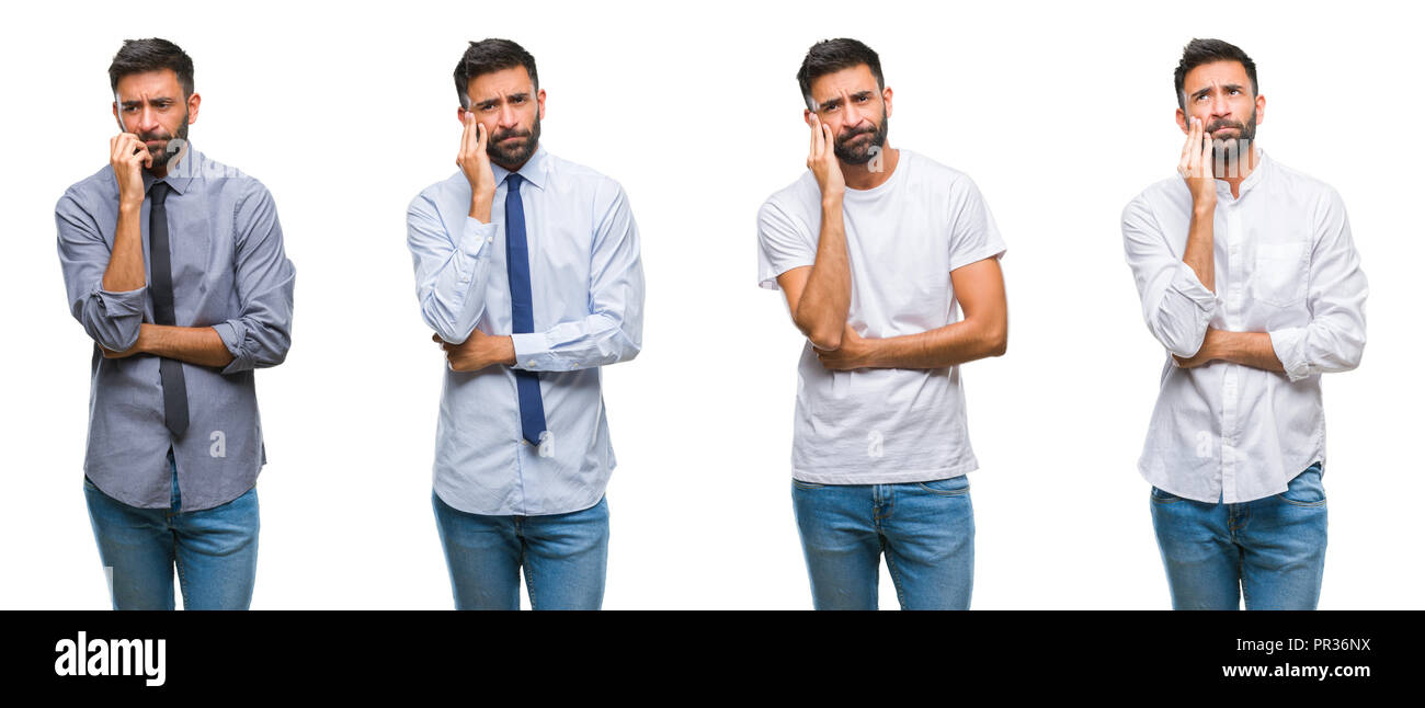 Collage of young man wearing casual look over white isolated backgroud thinking looking tired and bored with depression problems with crossed arms. Stock Photo