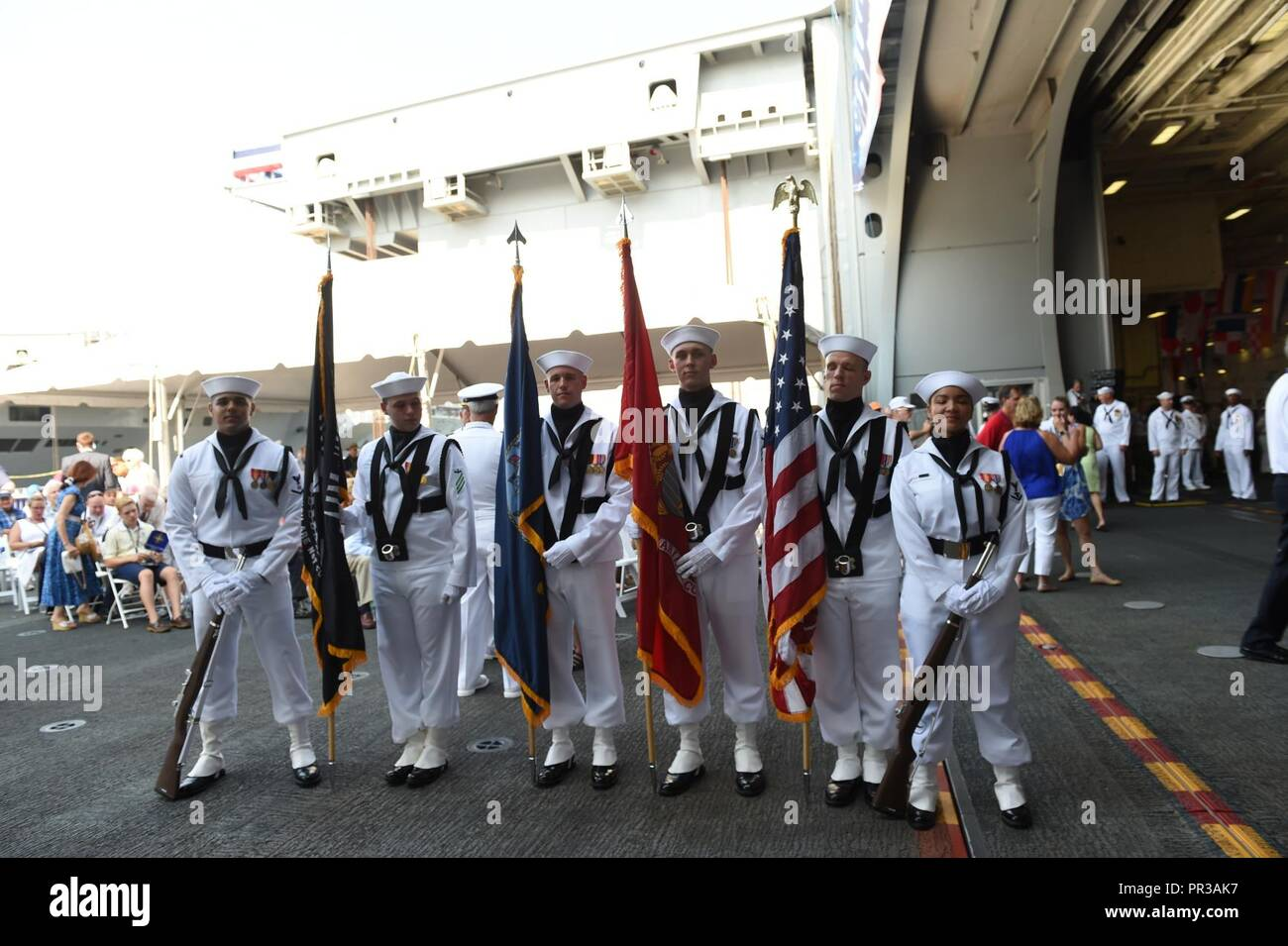 NORFOLK, Va. (July 22, 2017) -- USS Gerald R. Ford's (CVN 78) color guard poses for a group photo prior to the ship's commissioning ceremony. Ford is the lead ship of the Ford-class aircraft carriers, and the first new U.S. aircraft carrier design in 40 years. - Stock Image