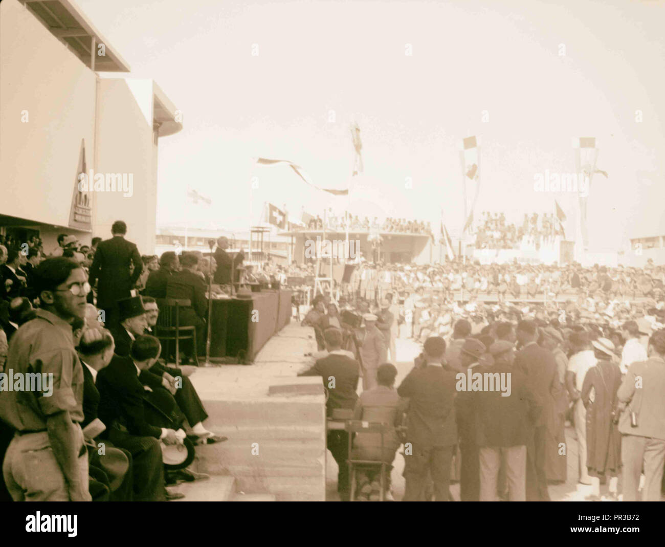 Opening of Levant Fair. Tel-Aviv Ap[ril] 30, 1936. General views. 1936, Israel, Tel Aviv - Stock Image