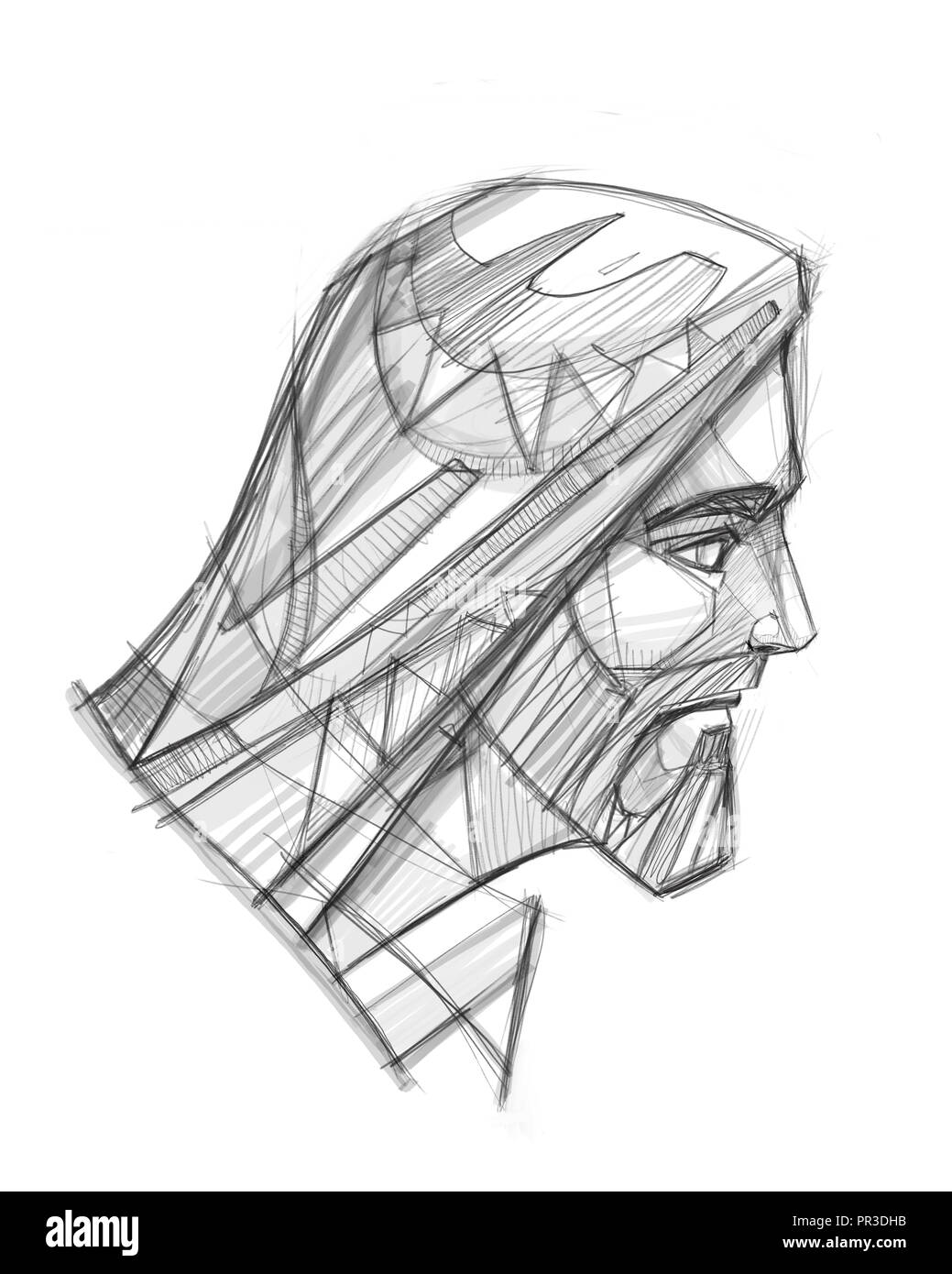 Hand drawn illustration or pencil drawing of jesus christ face stock