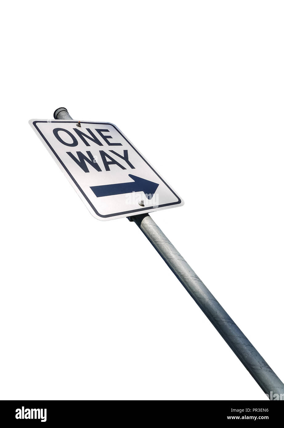 One way road sign isolated on white backdrop - Stock Image