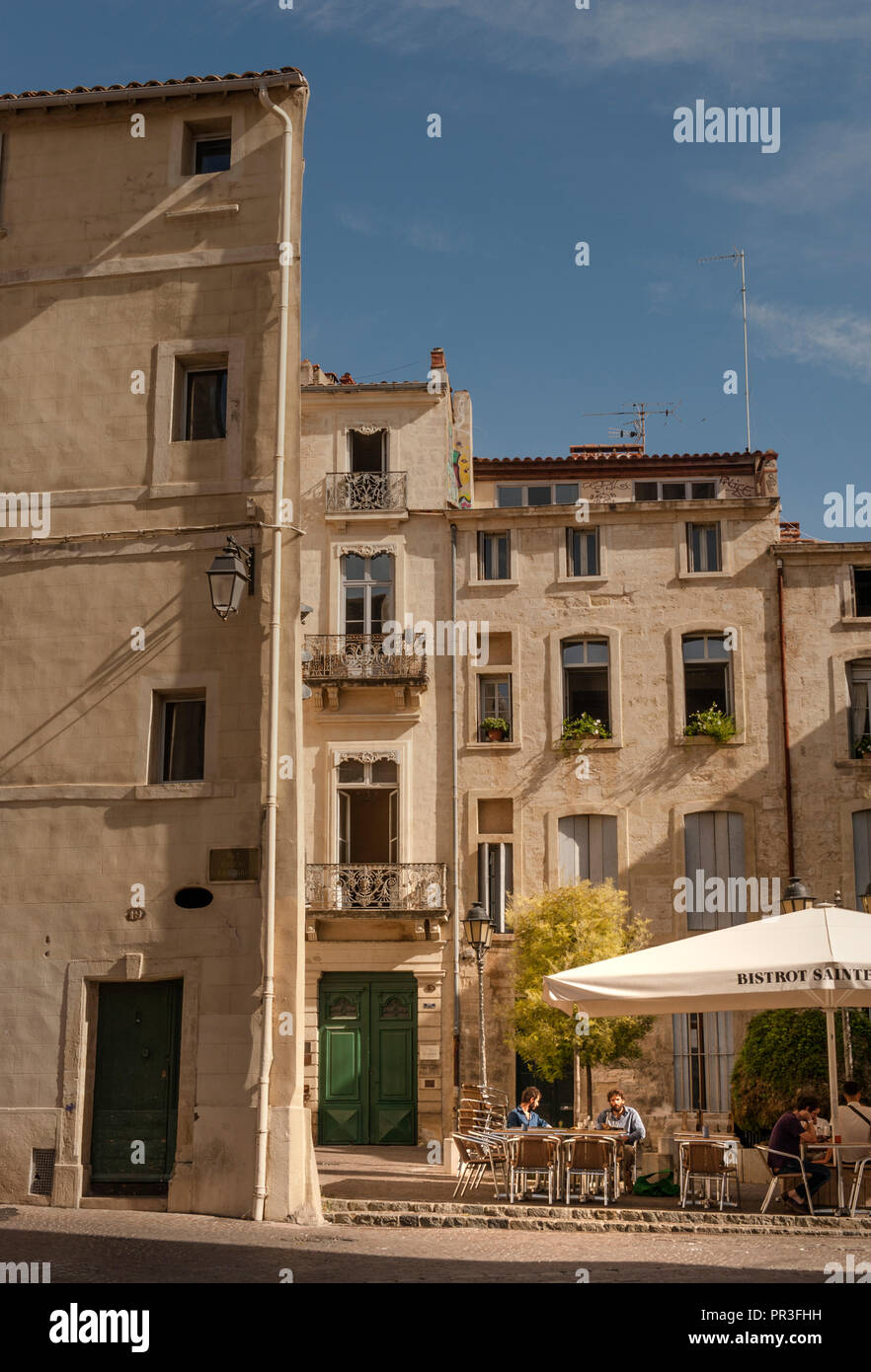 Bistro Sainte-Anne at the Place Sainte-Anne in the old heart of Montpellier, France Stock Photo