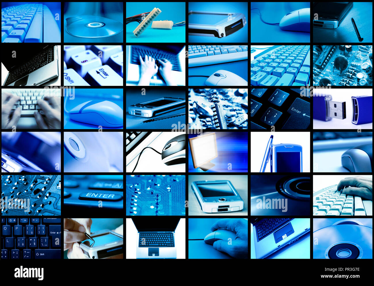screen made of many screens with technology images - Stock Image