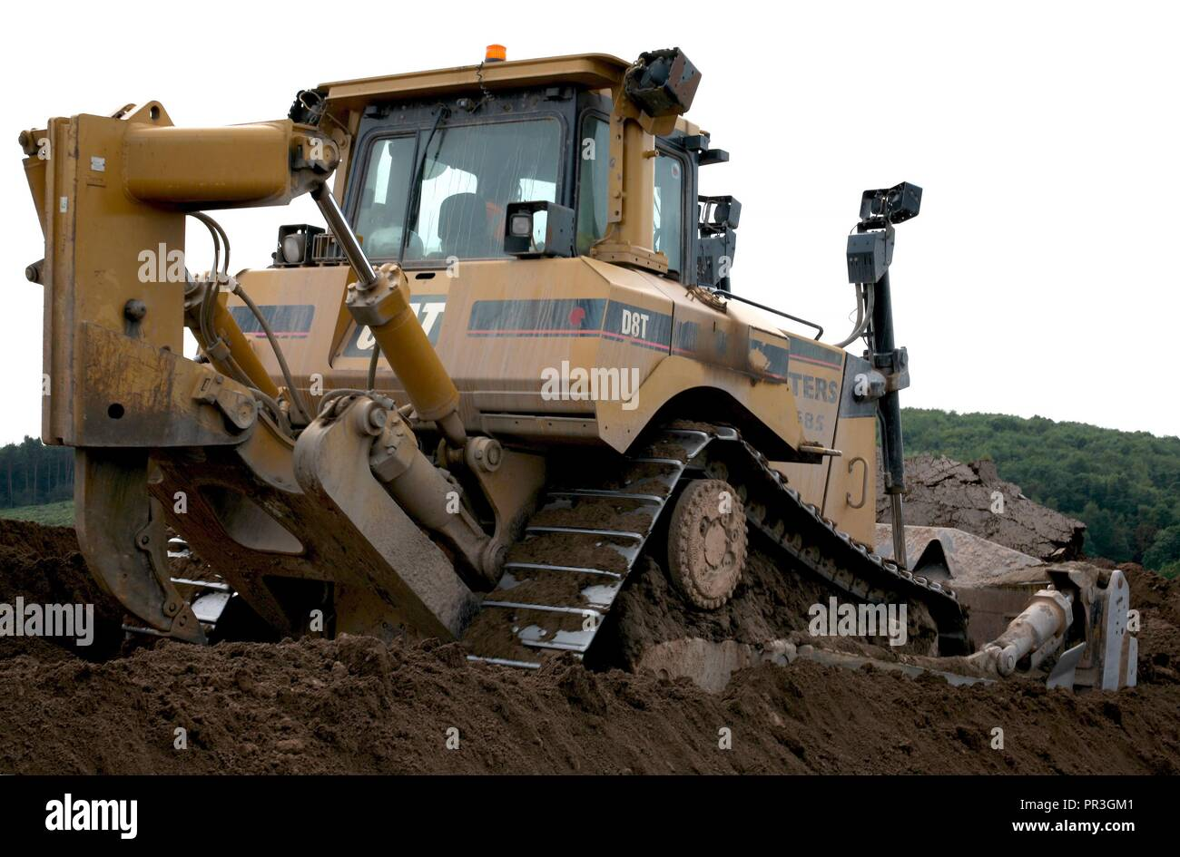A Caterpillar D8T Bulldozer fitted with a semi universal