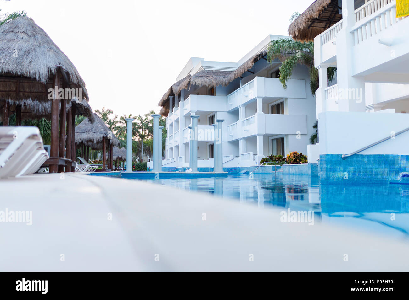 Grand Riviera Princess Hotel in Mexico Riviera Maya on 24th July 2018. Low down shot of this All Inclusive Hotel exterior at sunset in the late aftern - Stock Image