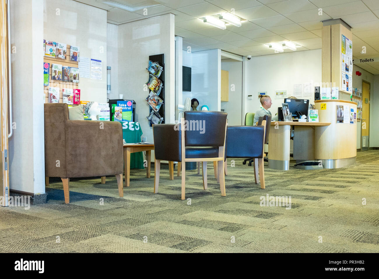 Reception at Macmillan Cancer Centre in Leighton Hospital in Crewe Cheshire UK - Stock Image