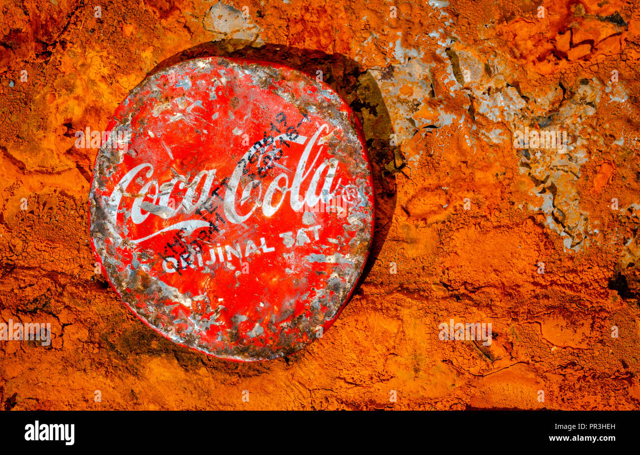 Scratched Coca Cola Bottle Lid, Coca-Cola  was first introduced in 1886 in the USA. - Stock Image