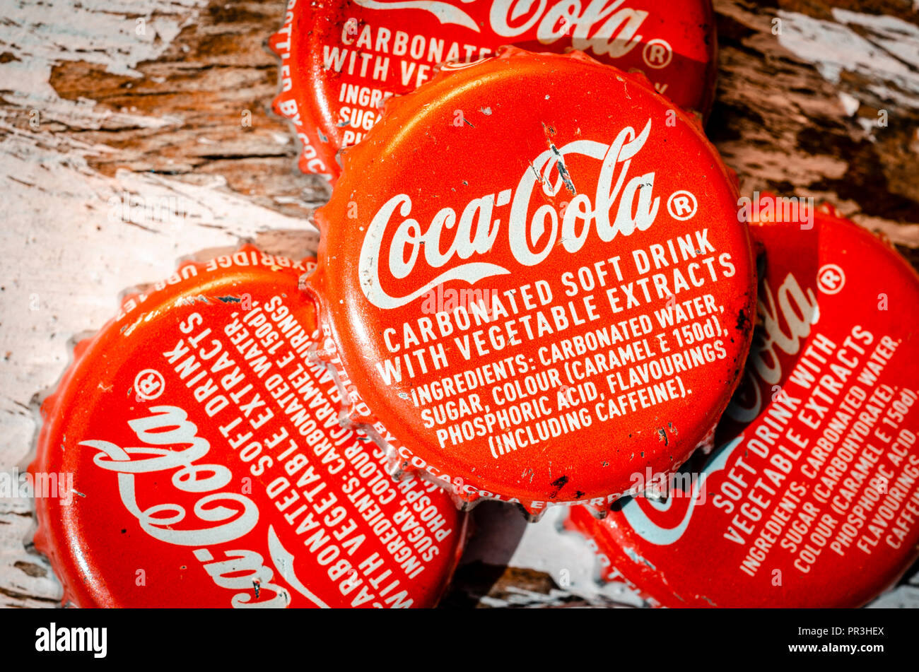 Coca Cola Bottle Tops, Coca-Cola  was first introduced in 1886 in the USA. - Stock Image
