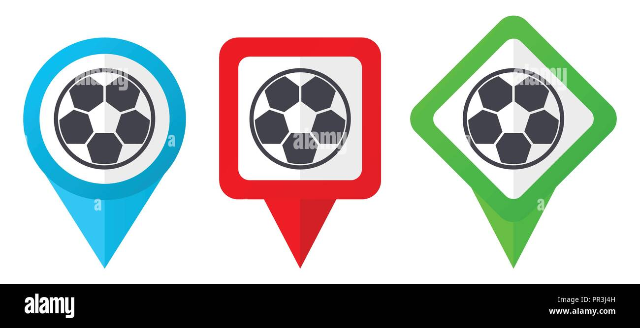 Soccer red, blue and green vector pointers icons. Set of colorful location markers isolated on white background easy to edit. - Stock Vector