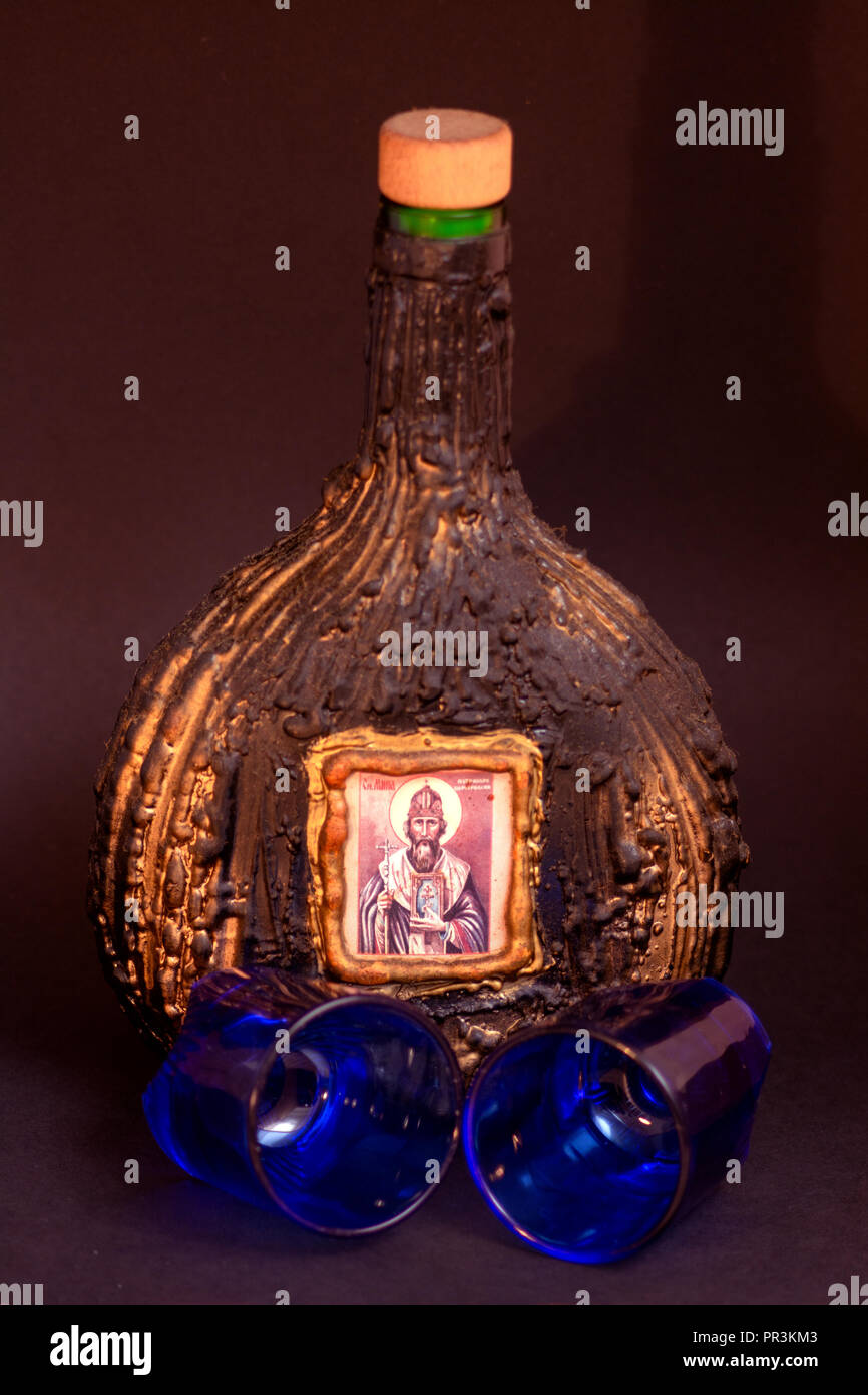 Slivovic Bottle - Stock Image