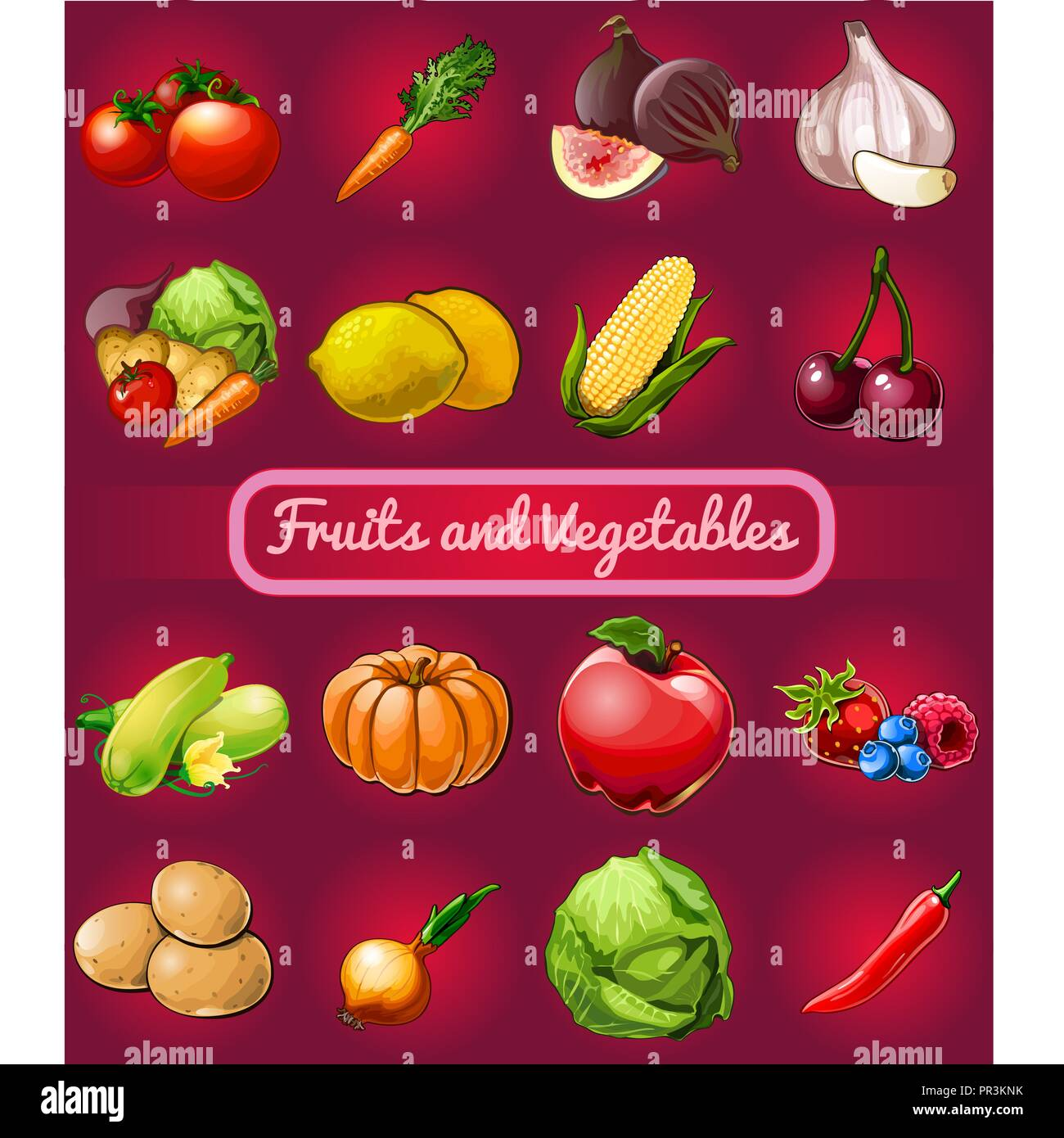 Poster with a picture of ripe and healthy vegetables and fruit isolated on red background. Organic food healthy diet and fitness menu. Vector cartoon close-up illustration. Stock Vector