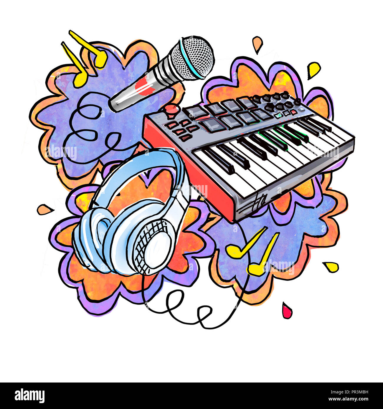 Collage in cartoon style on the theme of music. Isolated composition on a white background. Illustration - sticker, print. - Stock Image