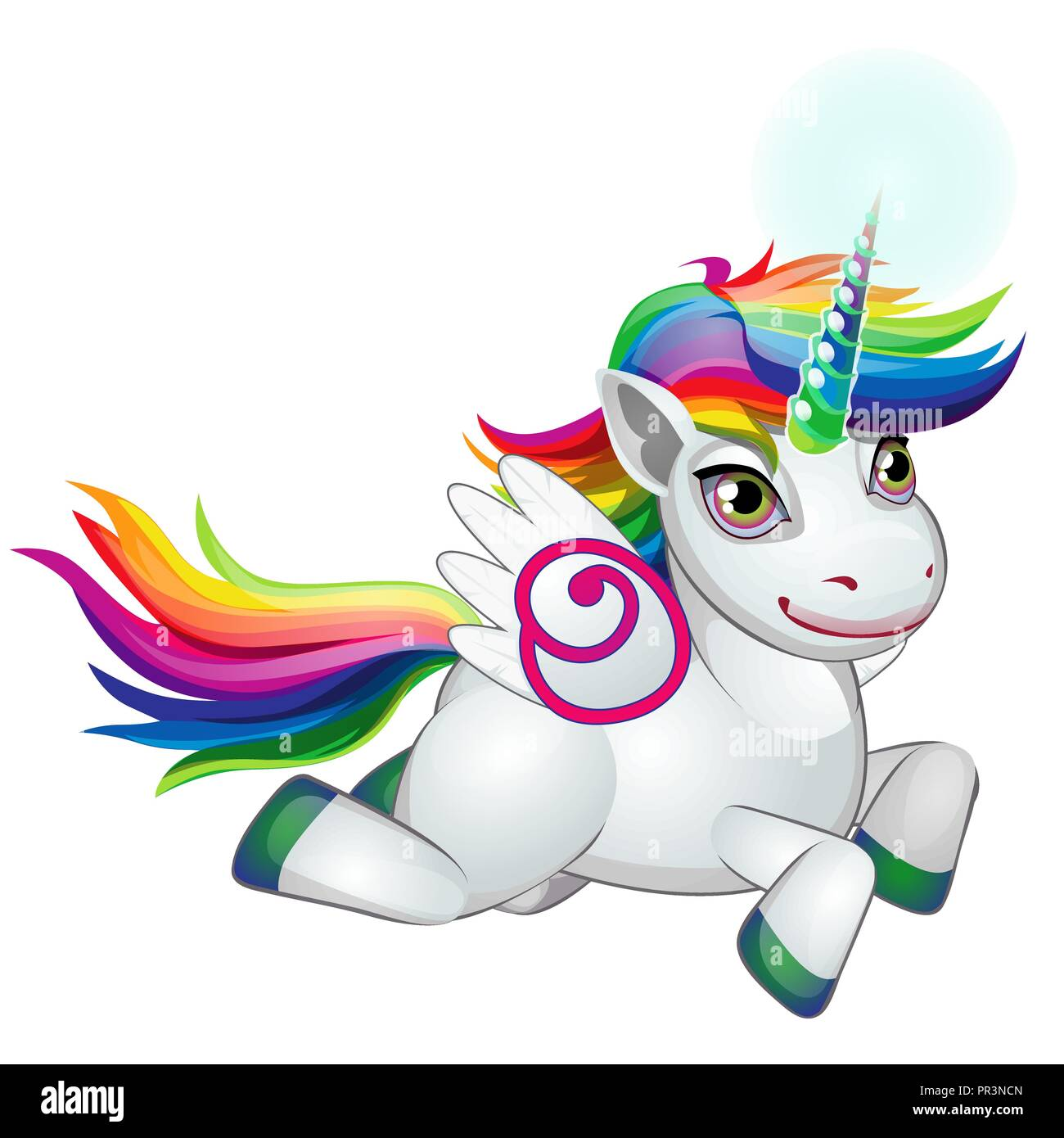 Cute Unicorn Pony With Mane Colors Of The Rainbow Happily Galloping