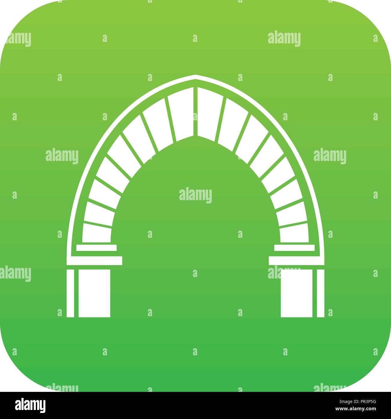 Stone arch icon green vector Stock Vector
