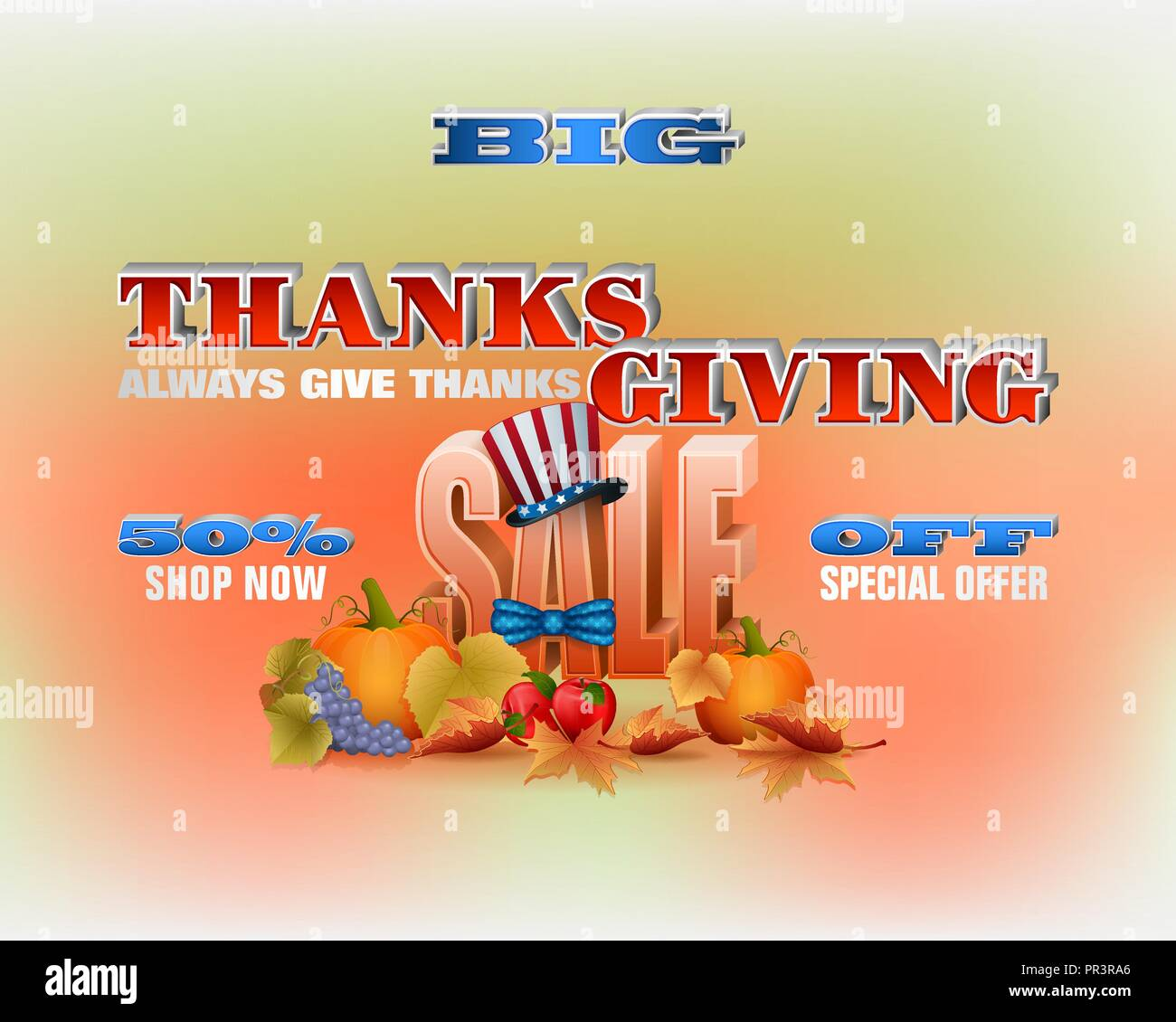 Thanksgiving Day Sales Commercial Events Holiday Design With 3d Texts Harvest And National Flag Colors For Thanksgiving Sales Commercial Events Stock Vector Image Art Alamy